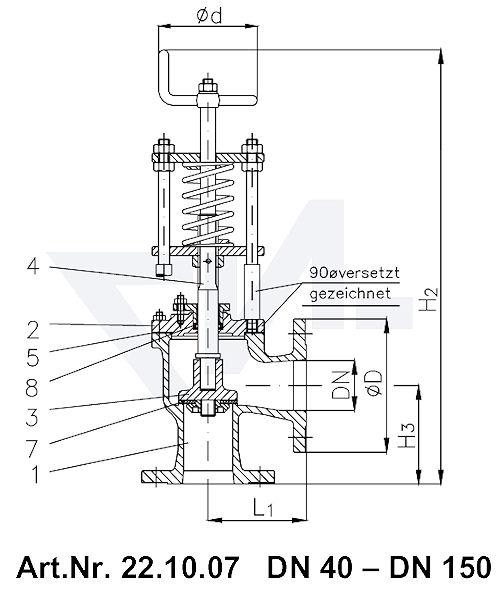 Клапан отливной невозвратно-запорный угловой фланцевый VG-длина Gbz 10/CuSn 6 со столбовой насадкой и пружинным нагружением, регулируемое давление открытия от 0,1-0,5 bar тип 22.10.07