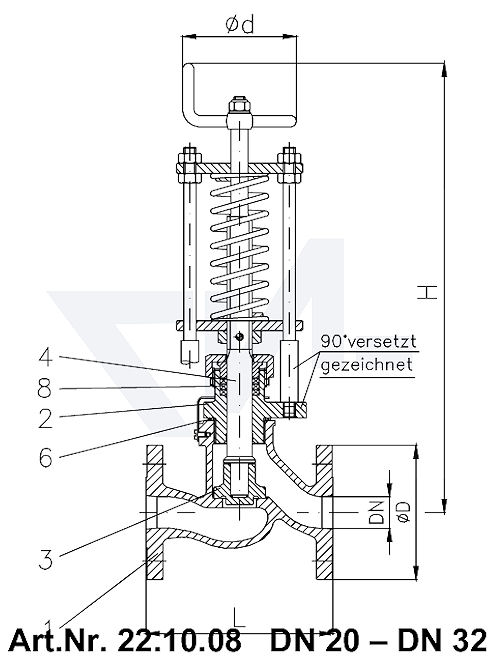 Клапан отливной невозвратно-запорный проходной фланцевый VG-длина, Gbz 10/CuSn 6 со столбовой насадкой и пружинным нагружением, регулируемое давление открытия от 0,1-0,5 bar тип 22.10.08