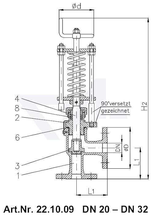 Клапан отливной невозвратно-запорный угловой фланцевый VG-длина Gbz 10/CuSn 6 со столбовой насадкой и пружинным нагружением, регулируемое давление открытия от 0,1-0,5 bar тип 22.10.09
