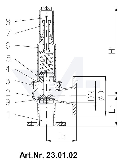 Клапаны предохранительные DIN-длина, Rg 5/SoMs 59 с закрытой крышкой и газоплотной головкой без рычага тип 23.01.01 / 23.01.02