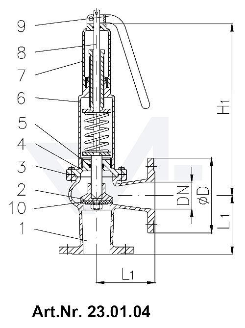 Клапаны предохранительные DIN-длина, Rg 5/SoMs 59 с закрытой крышкой и газоплотной головкой с рычагом тип 23.01.03 / 23.01.04
