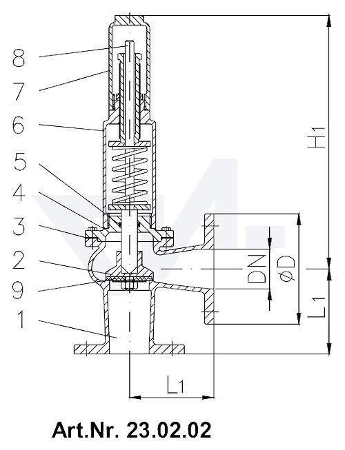 Клапаны предохранительные короткой модели, Rg 5/SoMs 59 с закрытой крышкой и газоплотной головкой без рычага тип 23.02.01 / 23.02.02