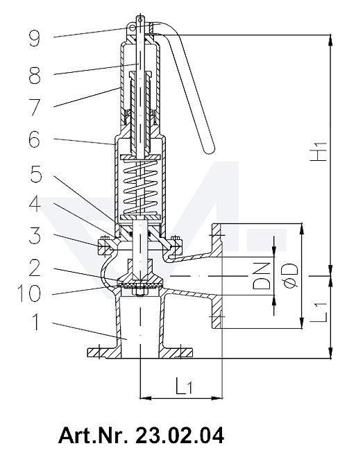 Клапаны предохранительные короткой модели, Rg 5/SoMs 59 с закрытой крышкой и газоплотной головкой с рычагом тип 23.02.03 / 23.02.04