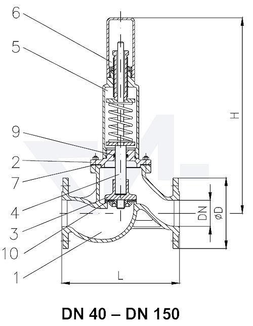 Клапан предохранительный проходной фланцевый VG-длина тип C, Gbz 10/CuSn 6 с мягким уплотнением, сальник: NBR тип 23.03.01