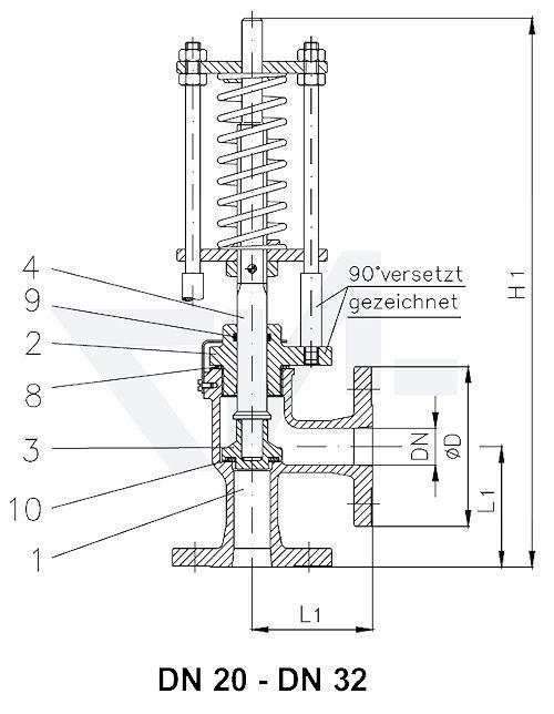Клапан предохранительный углов. фланцевый VG-длина тип C, Gbz 10/CuSn 6 с мягким уплотнением, сальник: NBR тип 23.03.02