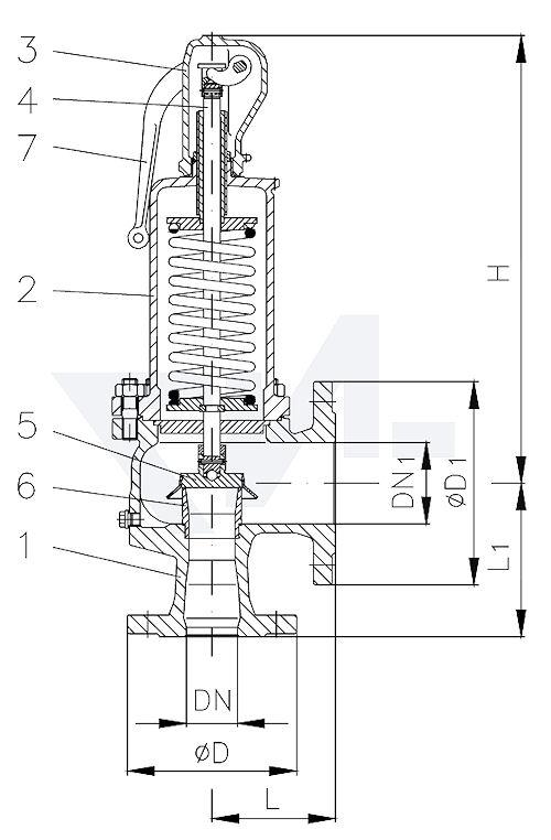 Клапан предохранительный, полноподъемный, угловой, фланцевый, GS-C25/ нерж. сталь с закрытой крышкой, с закрытой головкой тип 23.10.11