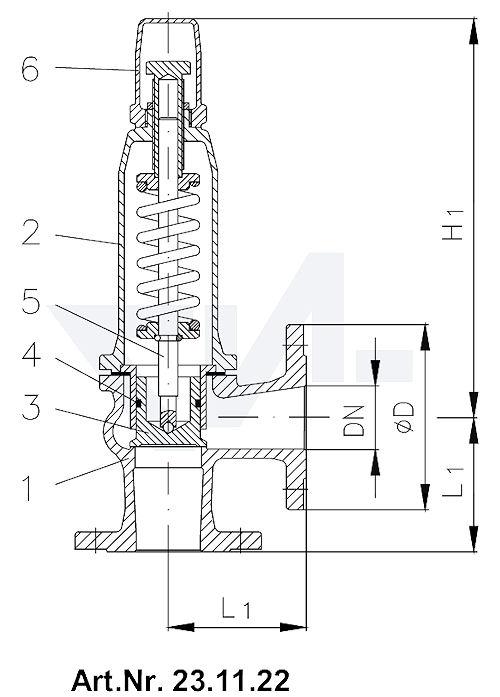 Клапан предохранительный, фланцевый перепускного типа, DIN-длина, GSC25/ нерж. сталь для жидкостей и газов