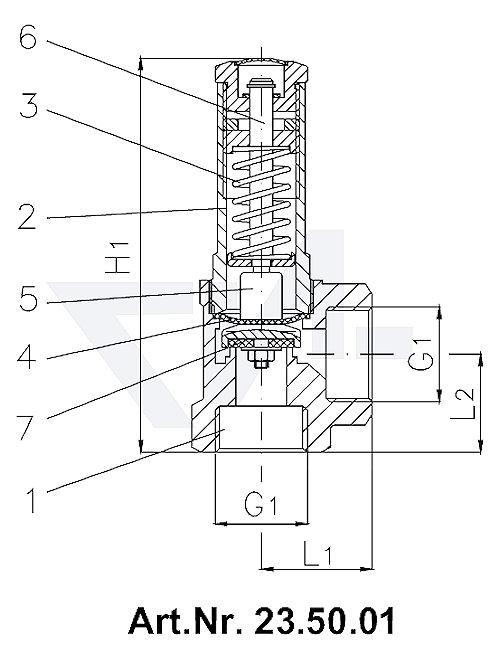Клапан предохранительный угловой, прошедший типовые испытания, Rg 5 Золотник со свободным выпуском Выход: наружняя резьба BSP-(R) тип 23.50.01 / 23.50.02 / 23.50.03