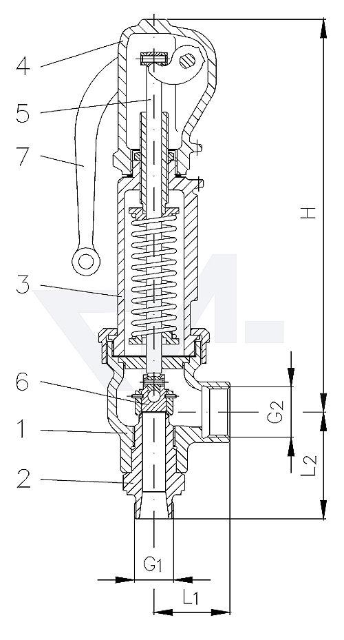 Клапан предохранительный угловой, GGG 40.3 с закрытой крышкой и с негазоплотной головкой PN40 тип 23.60.02