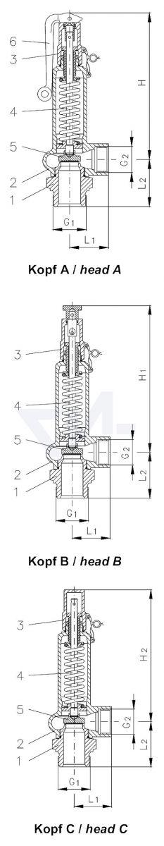 Клапан предохранительный угловой, 1.4104 / 0.7043 с металлическим уплотнением, негазоплотный