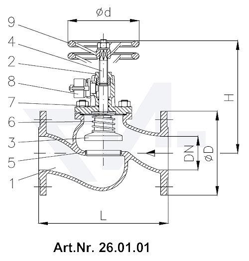 Клапан быстрозапорный фланцевый DIN-длина, GGG 40.3/Нерж. сталь с цилиндром для пневмо, гидро и под тросовый привод с маховиком для дополнительного запора, лакирован. в соотв. с RAL 5003 тип 26.01.01