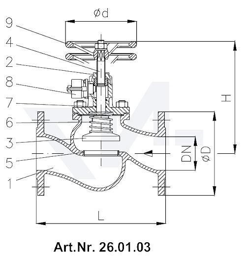 Клапан быстрозапорный фланцевый VG-длина, Gbz 10/Нерж. сталь с цилиндром для пневмо, гидро и под тросовый привод с коленчатой рукояткой для дополнительного запора тип 26.01.03