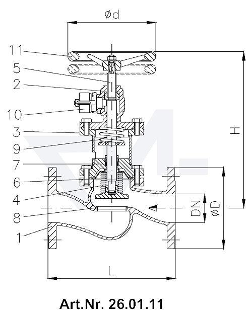 Клапан быстрозапорный фланцевый с сильфоном DIN-длина, GGG 40.3/Нерж. сталь с релиз-цилиндром для пневматических, гидравлических и ручных операций с маховиком для дополнительного запора