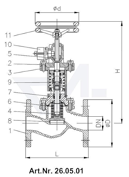 Клапан быстроотпорный фланцевый с сильфоном DIN-длина, GGG 40.3/Нерж. сталь с релиз-цилиндром для пневматических, гидравлических и ручных операций с маховиком для дополнительного запора тип 26.05.01 / 26.05.02