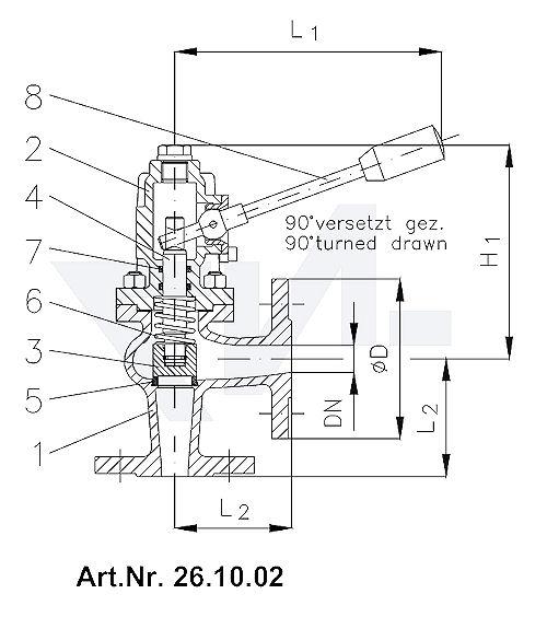 Клапан самозапорный, с пружинным нагружением DIN-длина, GGG 40.3 / Нерж. сталь тип 26.10.01 / 26.10.02