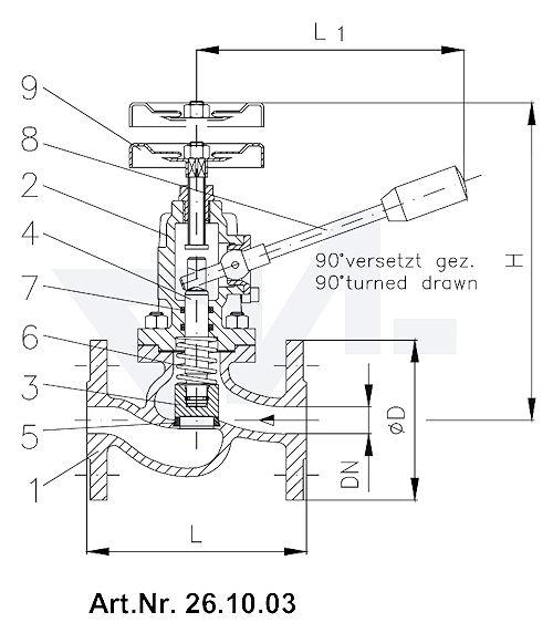 Клапан самозапорный, с пружинным нагружением DIN-длина, GGG 40.3/Нерж. сталь с дополнительным запором маховика тип 26.10.03 / 26.10.04