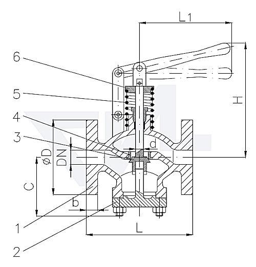 Клапан самозапорный проходной фланцевый, с пружинным нагружением тип 26.10.05