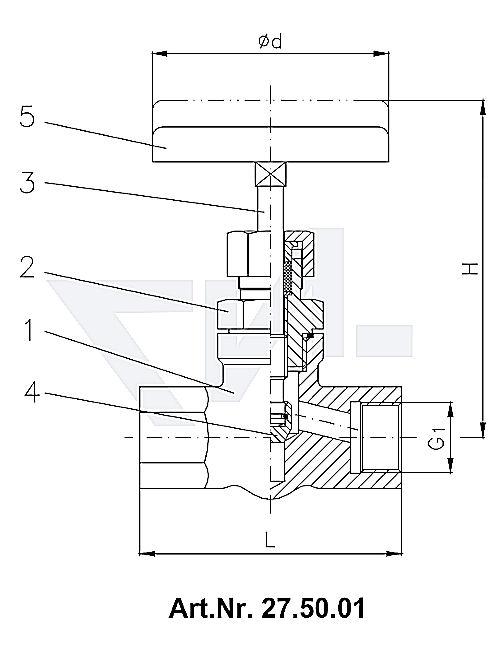 Клапан муфтовый, нерж. сталь металлическое уплотнение тип 27.50.01 / 27.50.02