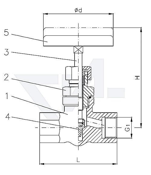 Клапан муфтовый проходной c игольчатым золотником, нерж. сталь металлическое уплотнение 27.50.51