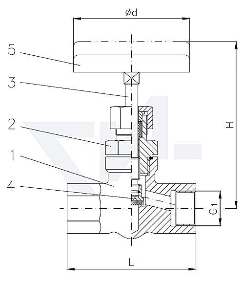 Клапан муфтовый проходной, нерж. сталь Сальник: PCTFE