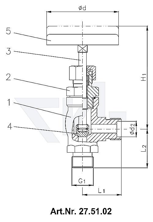 Клапан запорный штуцерный, нерж. сталь металлическое уплотнение тип 27.51.01 / 27.51.02