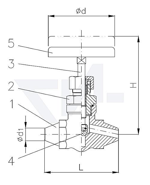 Клапан запорный с концами под сварку, проходной, нерж. сталь PN400 тип 27.52.01