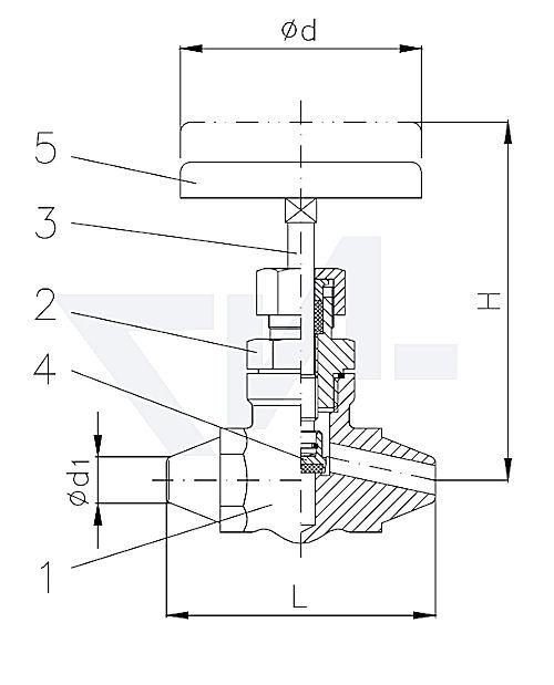 Клапан запорный с концами под сварку, проходной, нерж. сталь
