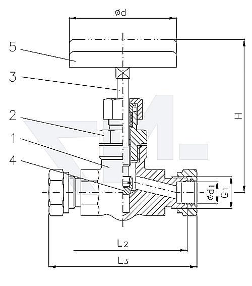 Клапан запорный штуцерный проходной, нерж. сталь PN400 тип 27.53.01