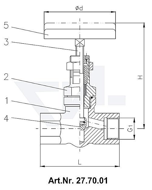 Клапан муфтовый с верхней частью хомутового типа, нерж. сталь PN400 тип 27.70.01 / 27.70.02