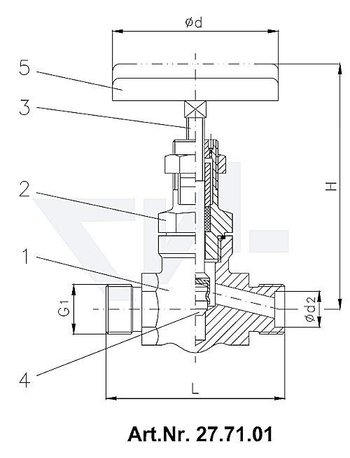 Клапан запорный штуцерный с верхней частью хомутового типа, нерж. сталь PN400 тип 27.71.01 / 27.71.02