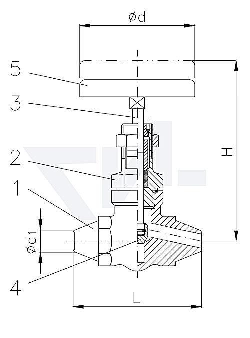 Клапан запорный с концами под сварку, проходной с верхней частью хомутового типа, нерж. сталь PN400 тип 27.72.01