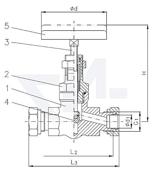 Клапан запорный штуцерный проходной с верхней частью хомутового типа, нерж. сталь PN400 тип 27.73.01