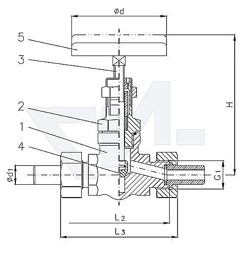 Клапан запорный штуцерный проходной с верхней частью хомутового типа, нерж. сталь PN400 тип 27.74.01