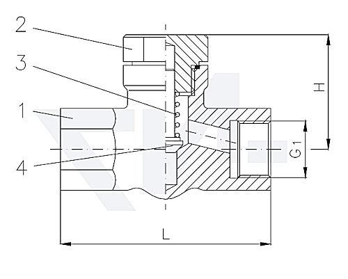 Клапан невозвратно-запорный проходной муфтовый, нерж. сталь с подпружиниванием PN400 тип 27.80.21