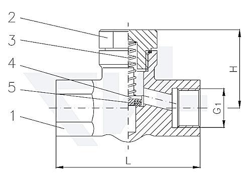 Клапан невозвратно-запорный проходной муфтовый, нерж. сталь с подпружиниванием тип 27.80.81