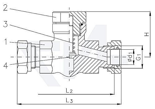 Клапан невозвратно-запорный проходной штуцерный , нерж. сталь с подпружиниванием с врезным обжимным кольцом DIN 2353 серия S PN400 тип 27.83.21