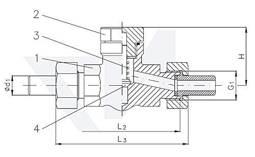 Клапан невозвратно-запорный проходной штуцерный , нерж. сталь PN400 тип 27.84.21
