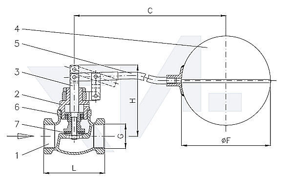 Клапан поплавковый муфтовый , Rg 5/SoMs 59 с поплавком из меди тип 29.04.01