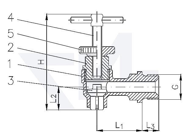 Воздушный клапан DIN 87901, Rg 5 с металлическим уплотнением, с невоззвратно-запорным золотником, с Т-рукояткой PN16 тип 29.30.01