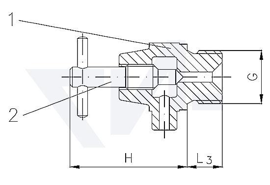Выпускной клапан DIN 86545, Rg 5 с металлическим уплотнением и боковым сливом, с фиксированной Т-рукояткой тип 29.30.02