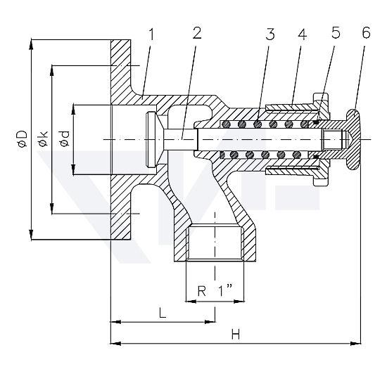 Выпускной клапан самозапорный фланцевый тип 29.38.03