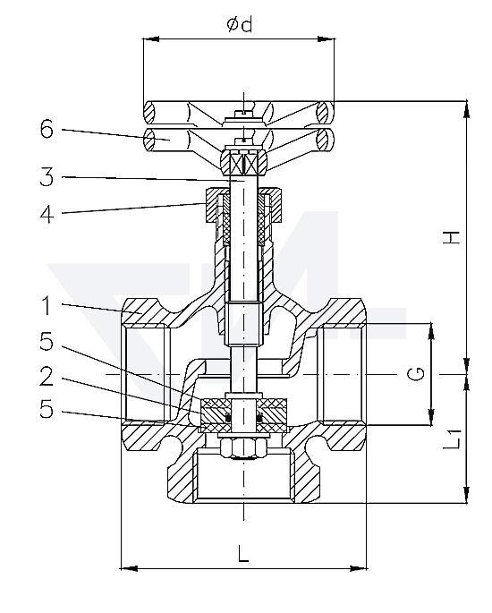 Трехходовой клапан муфтовый из бронзы тип 29.38.30