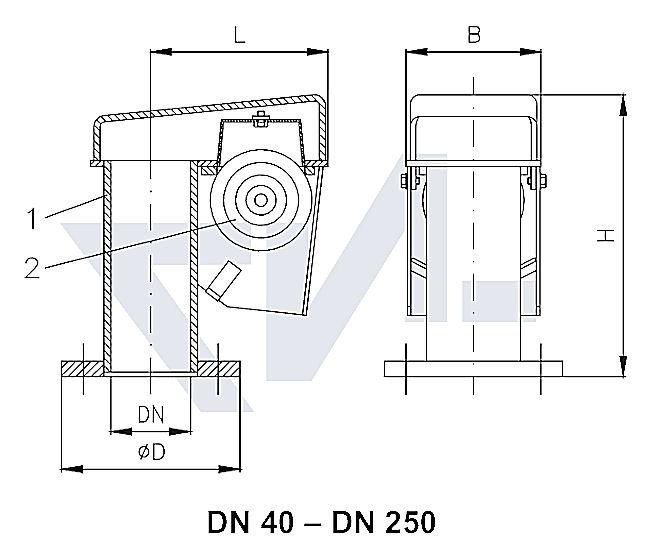 Головка вентиляционная, сталь оцинк. с сеткой и пластиковым поплавком из PE тип 29.50.01
