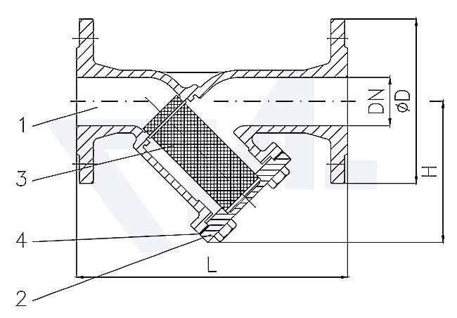 Фильтр фланцевый «У»-тип DIN-длина, бронза Rg 5/сталь нерж. PN16 тип 30.01.03