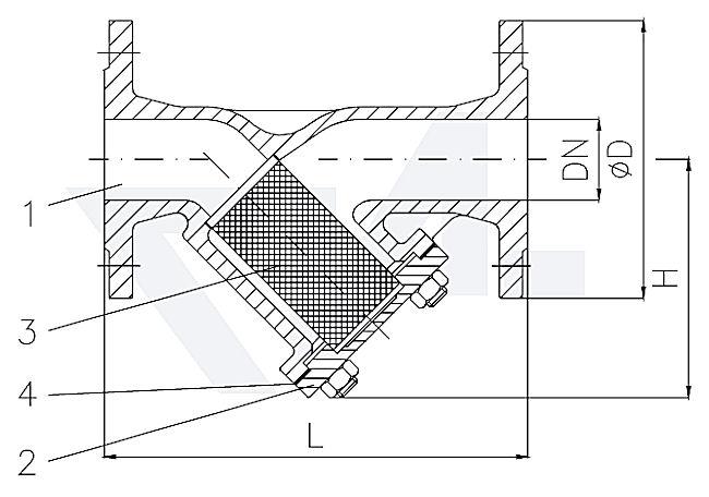 Фильтр фланцевый «У»-тип DIN-длина, стальной GS-C25 / сталь нерж. тип 30.01.03-ST
