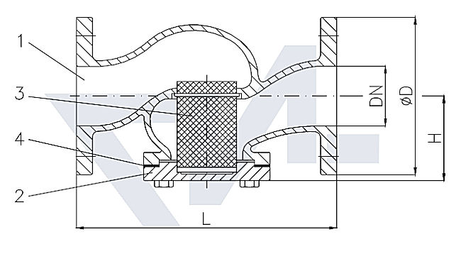 Фильтр фланцевый проходной короткой модели, бронза Rg 5/сталь нерж. тип 30.02.01
