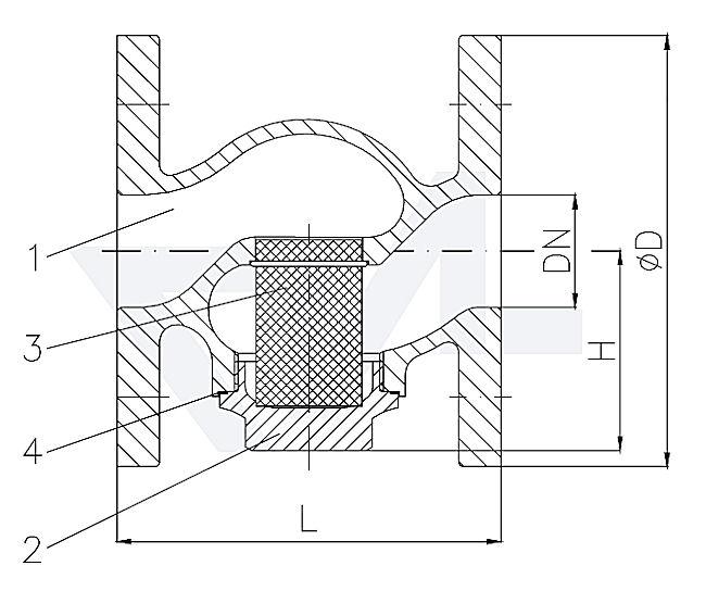 Фильтр фланцевый проходной с резьбовой крышкой, бронза Rg 5/сталь нерж. PN16 тип 30.03.01