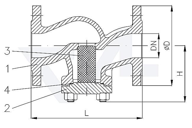 Фильтр фланцевый проходной, сталь GS-C25/сталь нерж. PN40 тип 30.03.01-ST