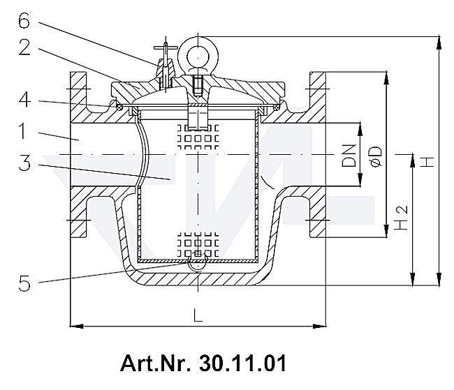 Фильтр забортной воды DIN 87151, серый чугун GG 25/сталь нерж. PN 4 тип 30.11.01 / 30.11.02
