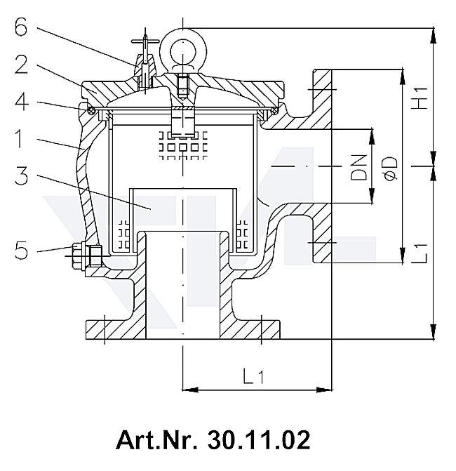 Фильтр забортной воды DIN 87151, серый чугун GG 25/сталь нерж. PN 4 тип 30.11.02